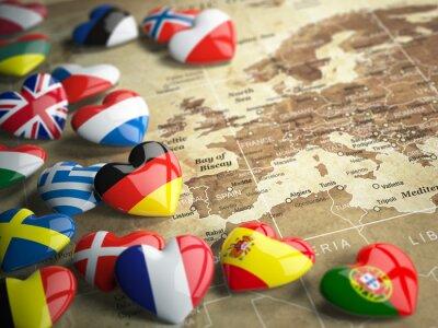 Наклейка Карта Европы и сердца с флагами европейских стран. Траве