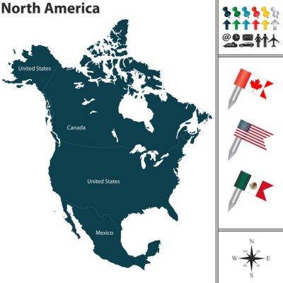 Наклейка Карта Северной Америки