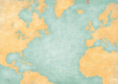 Наклейка Map of North Atlantic Ocean - Jan Mayen