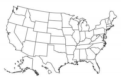 Наклейка Карта США