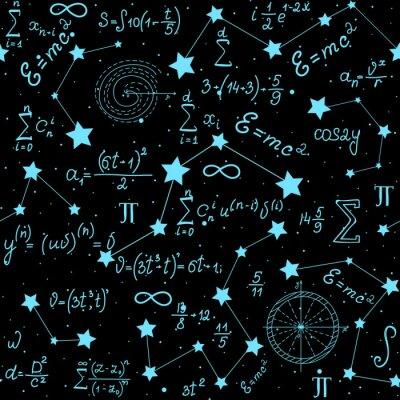 Наклейка Математический астрофизический вектор бесшовные модели с формулами, фигурами и расчетами, написанные от руки на фоне звезд. Научное пространство бесконечной текстуры
