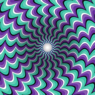 Наклейка Меандеринг полосы воронки. Вращающийся отверстие. Пестрый движущийся фон. Оптическая иллюзия иллюстрация.