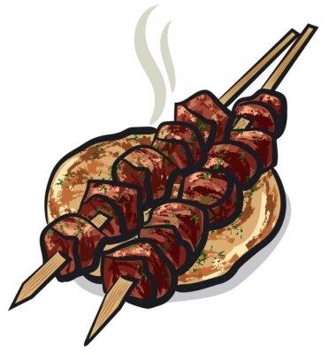 Наклейка мясо-кебаб