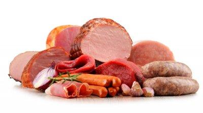 Наклейка Мясные продукты, включая ветчины и колбасы, изолированные на белом