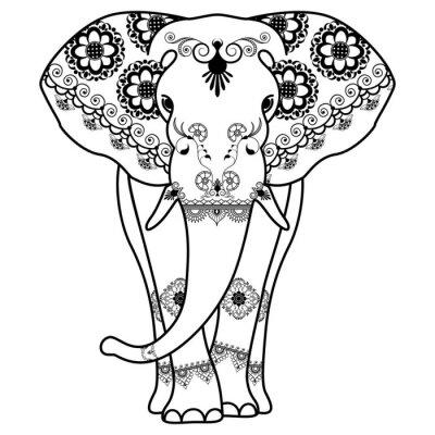 Наклейка Менди татуировки слон оформлен в индийском стиле