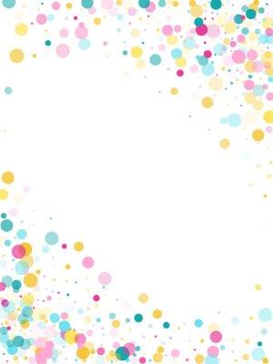 Наклейка Мемфис круглый конфетти праздничный фон в голубой, розовый и желтый. Детский узор вектор.