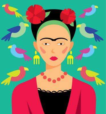 Наклейка Мексиканская женщина в макияж, векторные иллюстрации. Герои мультфильмов.