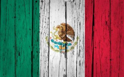 Наклейка Мексика Флаг гранж фон
