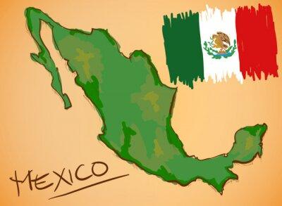 Наклейка Мексика Карта и национальный флаг Вектор