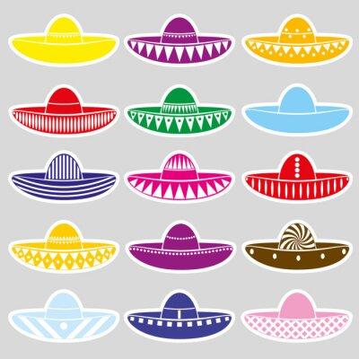 Наклейка Мексика вариации сомбреро шляпа набор наклеек eps10