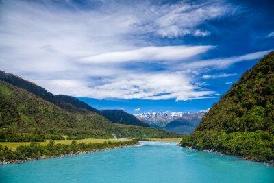 Наклейка Млечный синий ледниковая вода реки Whataroa в Новой Зеландии