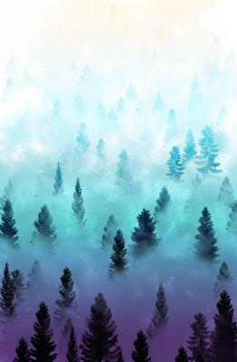 Наклейка туманный лес пейзаж