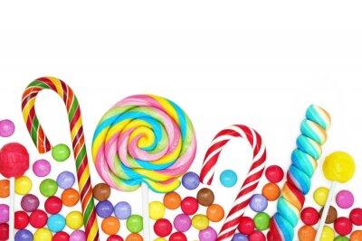 Наклейка Смешанный красочный конфеты на белом фоне