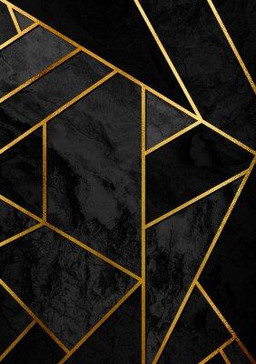 Наклейка Современный и стильный абстрактный дизайн с золотыми линиями и черным геометрическим рисунком.
