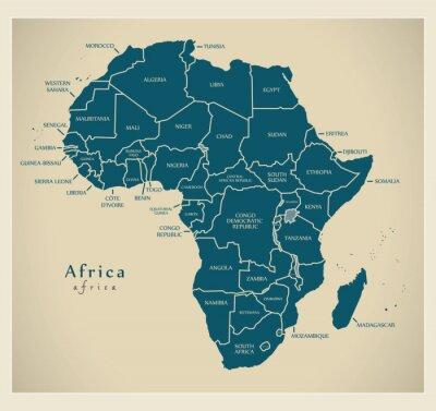 Наклейка Современная карта - Африка континент с кодом страны этикетки
