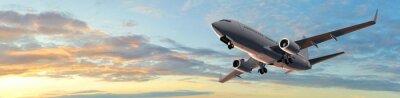 Наклейка Современный полета Пассажирский самолет в закат панорама