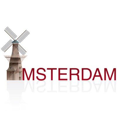 Наклейка МОЛЕН DE GOOYER, Амстердам. Векторы европейских monumentals городов.