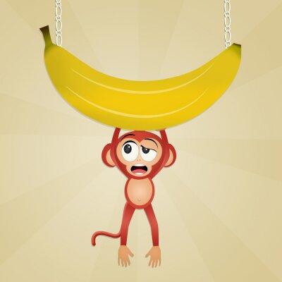 Наклейка обезьяна с бананом