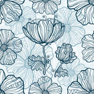 Наклейка Монохроматические мака цветы бесшовные модели