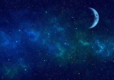 Наклейка Луна, туманность и звезды в ночном небе. Космический фон.