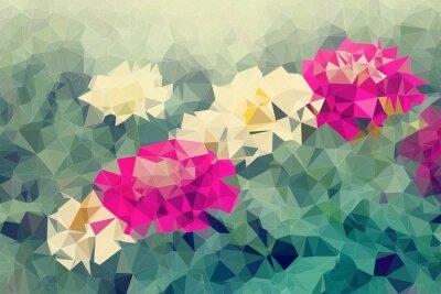 Наклейка Мозаика и низкий многоугольник фон на цветы фоне, иллюстрации