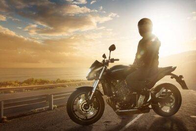 Наклейка Motorbike on an Ocean Road