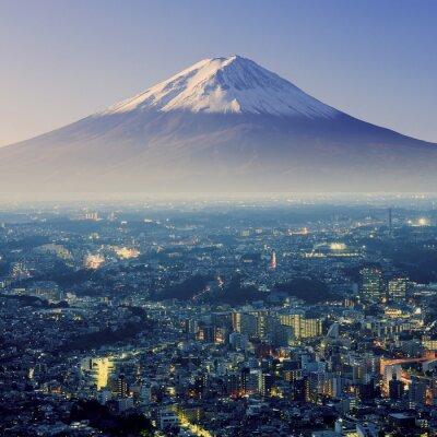 Наклейка Гора Фудзи. Фудзияма. Вид с воздуха с CitySpace сюрреалистический выстрела. J