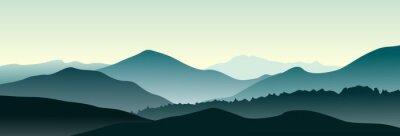 Наклейка Mountain landscape in the summer morning. Horizontal vector illustration.