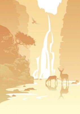Наклейка горный пейзаж с водопадом