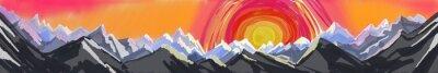 Наклейка горный восход или закат, цифровой абстрактного искусства картина бурной горной цепи с огромным красочным заходящего солнца или восход, заголовок сайта или нижнего колонтитула