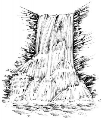 Наклейка Горы водопад графическая иллюстрация