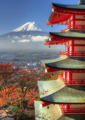 Наклейка Гора Fuji и Autumn Leaves в Arakura Сэнгэн Shrine в Японии