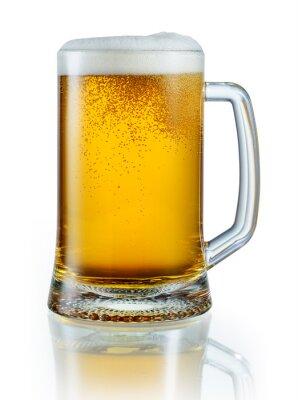 Наклейка Кружка светлого пива на белом фоне. С отсечения годовых