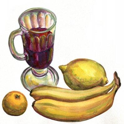 Наклейка Глинтвейн, бананы, лимон и мандарин. Акварельная живопись
