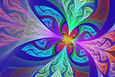 Наклейка Разноцветный Фрактальная цветок или бабочка фона в витражного г
