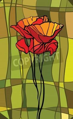 Наклейка Разноцветные витражи с цветочным мотивом