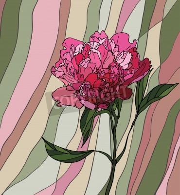 Наклейка Разноцветные витражи с цветочным мотивом, пион на фоне разноцветной полосатой