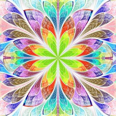 Наклейка Разноцветный симметричный фрактал цветок в витраже