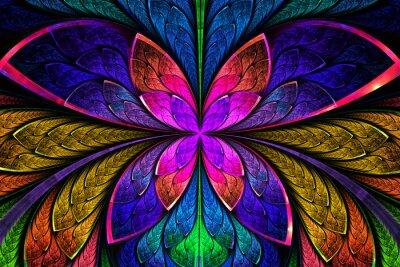 Наклейка Разноцветные симметричный фрактала, как цветок или бабочка