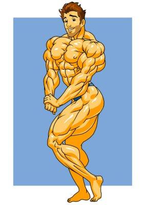 Наклейка мышечная культурист позирует, иллюстрация, цвет, логотип, изолированных на белом