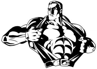 Наклейка muscular bodybuilder rips shirt