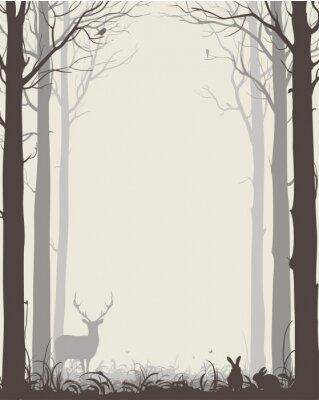 Наклейка естественный фон с силуэтами деревьев и животных