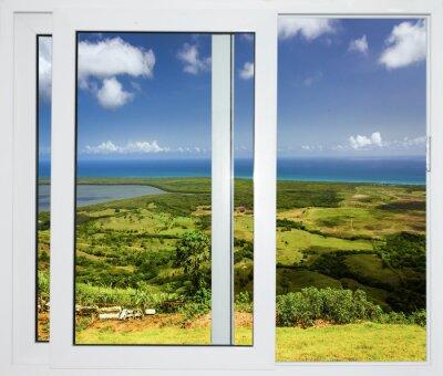 Наклейка природа пейзаж с видом через окно