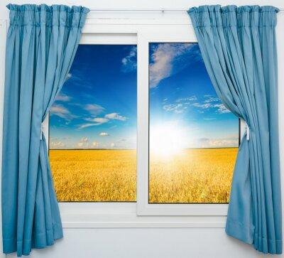 Наклейка природа пейзаж с видом через окно с занавесками
