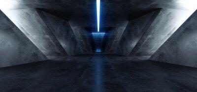 Наклейка Neon Laser Blue Sci Fi Modern Concrete Cement Dark Empty Asphalt Reflective Grunge Hall Room Corridor Tunnel Spaceship Glowing White Cinematic Daylight Rays Glow 3d Rendering