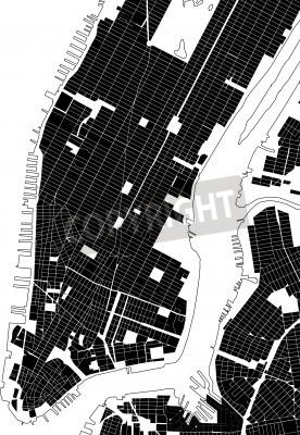 Наклейка Нью-Йорк черный белый план города - улица текстура