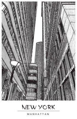 Наклейка Нью-Йорк, Манхэттен. Узкая улица в центре города, городской пейзаж с известными небоскребами. Векторная иллюстрация в стиле гравюры. Черный рисунок, изолированных на белом фоне. Перспектива вверх.