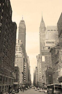 Наклейка Нью-Йорк Сити Манхэттен вид с улицы черный и белый