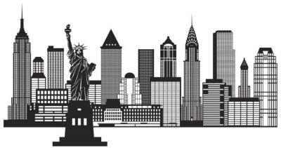 Наклейка New York City Skyline черный и белый векторные иллюстрации
