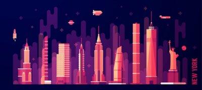 Наклейка Нью-Йорк город небоскребов вектор плоский стиль